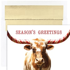Peppermint Longhorn Warmest Wishes Boxed Holiday Card