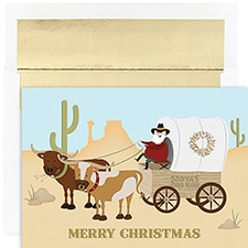 Santa's Chuckwagon Warmest Wishes Boxed Holiday Card
