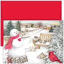 Country Snowman Hollyville Boxed Holiday Card