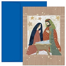 Quilted Manger Hollyville Boxed Holiday Card