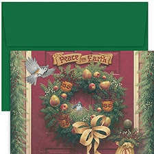 Peace On Earth Wreath Hollyville Boxed Holiday Card