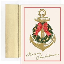 Nautical Christmas Warmest Wishes Boxed Holiday Card