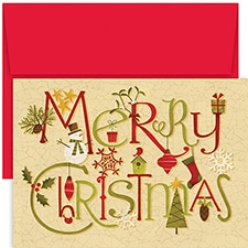 Crackle Christmas Hollyville Boxed Holiday Card