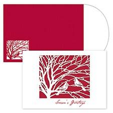 Cardinal Laser Cut Season's Sentiments Boxed Holiday Card
