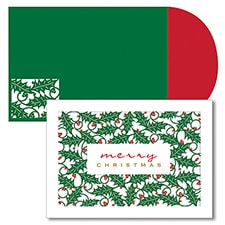 Holly Laser Cut Season's Sentiments Boxed Holiday Card