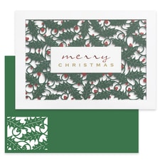 Holly Laser Cut Holiday Collection Laser Cut Boxed Holiday Card