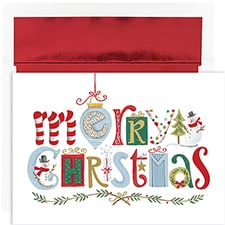 Merry Christmas Elements Holiday Collection Boxed Holiday Card
