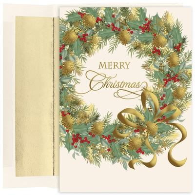 Traditional Wreath Holiday Collection Boxed Holiday Card