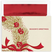 Wreath with Berries Holiday Collection Boxed Holiday Card