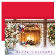 Cozy Fireplace Holiday Collection Boxed Holiday Card