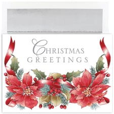 Christmas Poinsettias Holiday Collection Boxed Holiday Card