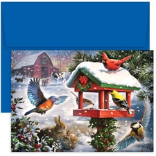 Bird Gathering Hollyville Boxed Holiday Card