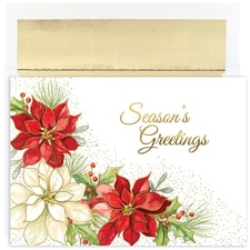 Corner Poinsettia Holiday Collection Boxed Holiday Card