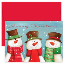 Smiling Snowmen Hollyville Boxed Holiday Card