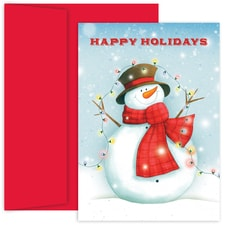Snowman With Lights Hollyville Boxed Holiday Card