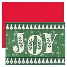 Rustic JOY Hollyville Boxed Holiday Card