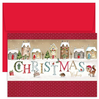 Christmas Wishes Village Hollyville Boxed Holiday Card