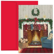 The Stockings Are Hung Hollyville Boxed Holiday Card