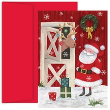 Visit From Santa Hollyville Boxed Holiday Card