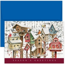 Winter Birdhouses Holiday Collection Boxed Holiday Card