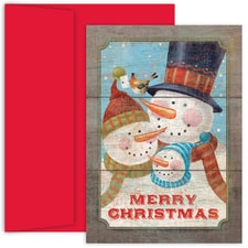 Snow Family Hollyville Boxed Holiday Card
