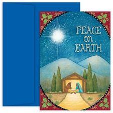 Peace On Earth Nativity Hollyville Boxed Holiday Card