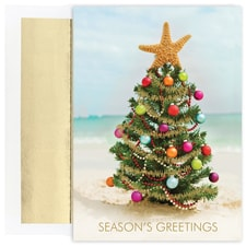 Beach Christmas Tree Warmest Wishes Boxed Holiday Card
