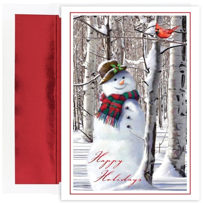 Snowman with Cardinal Holiday Collection Boxed Holiday Card