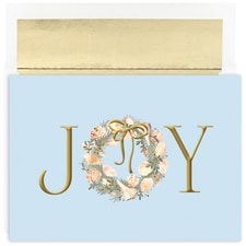 JOY Wreath Warmest Wishes Boxed Holiday Card