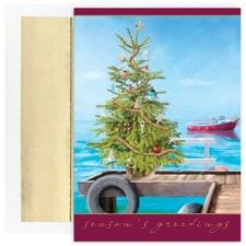 Dock Tree Warmest Wishes Boxed Holiday Card