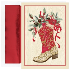 Christmas Boot Warmest Wishes Boxed Holiday Card