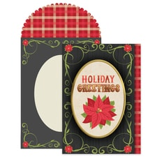 Greetings Poinsettia Season's Sentiments Boxed Holiday Card