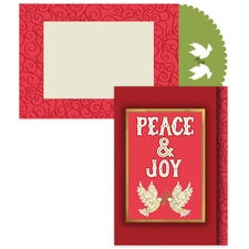 Peace & Joy Doves Season's Sentiments Boxed Holiday Card