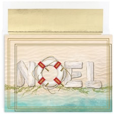 Beach NOEL Warmest Wishes Boxed Holiday Card