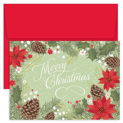 poinsettia pinecone border holiday collection boxed holiday card