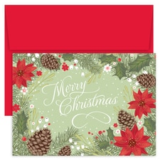 Poinsettia & Pinecone Border Holiday Collection Boxed Holiday Card