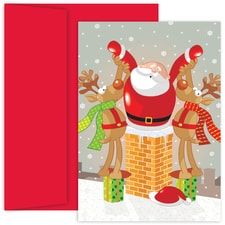 Santa & Reindeer Holiday Collection Boxed Holiday Card
