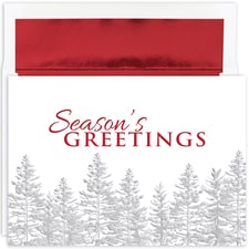 Silver Treeline Holiday Collection Boxed Holiday Card