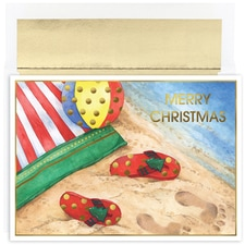 Beach Flip Flops Warmest Wishes Boxed Holiday Card