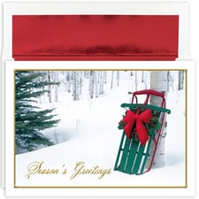 Winter Sled Holiday Collection Boxed Holiday Card