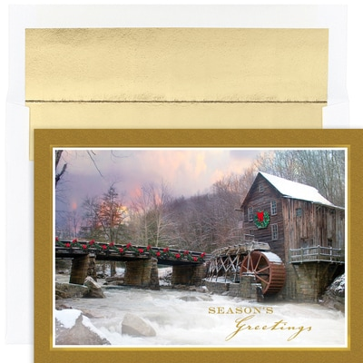Winter Mill Scene Holiday Collection Boxed Holiday Cards