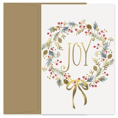 Joy Wreath Holiday Collection Petites Boxed Holiday Card