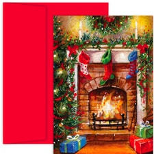 Crackling Fire Holiday Collection Boxed Holiday Cards