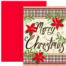 Poinsettia Plaid Holiday Collection Boxed Holiday Cards