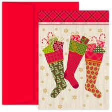 Festive Stockings Hollyville Boxed Holiday Cards