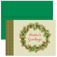 Plaid Pinecone Wreath Hollyville Boxed Holiday Cards