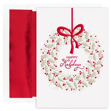 Hanging Berry Wreath Holiday Collection Boxed Holiday Cards