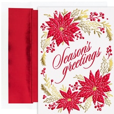 Foil Poinsettias Holiday Collection Boxed Holiday Cards