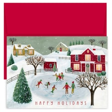 Skating Scene Holiday Collection Boxed Holiday Cards