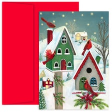 Christmas Bird Houses Hollyville Boxed Holiday Cards